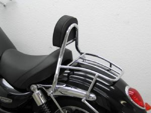 "ROCKET 3 Roadster Sissy Bar/Rack With Backrest & Pad. ""Solo Seat"""